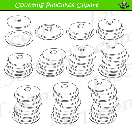 counting pancakes clipart bw