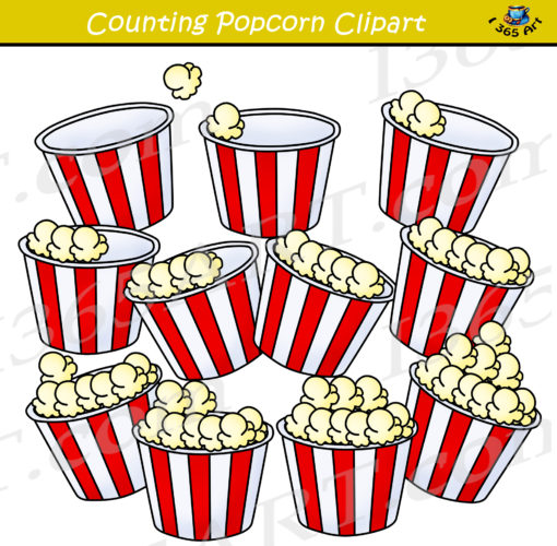 counting popcorn clipart