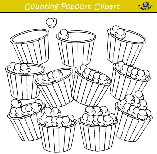 counting popcorn clipart bw