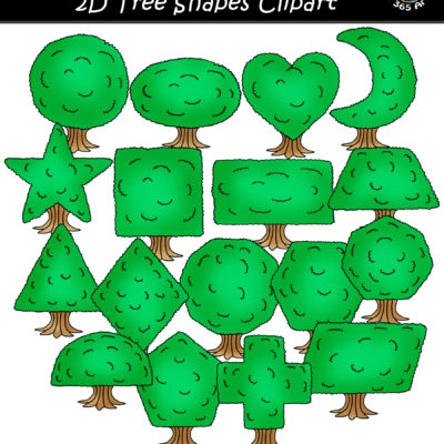 2D tree shapes clipart