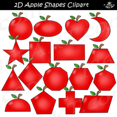 2D apple shapes clipart