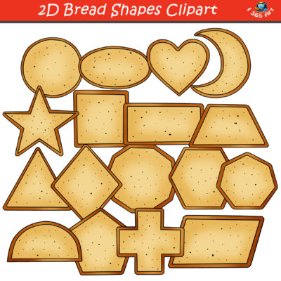 2D bread shapes clipart