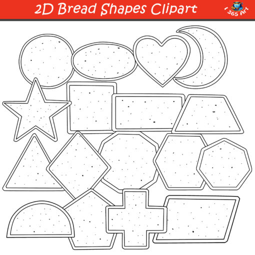 2D bread shapes clipart black and white