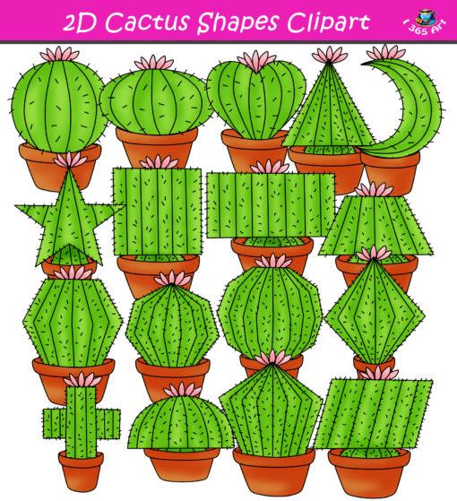 2d cactus shapes clipart