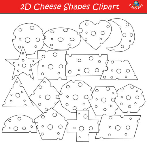 2D cheese shapes black and white