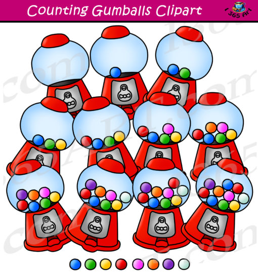 counting gumballs clipart