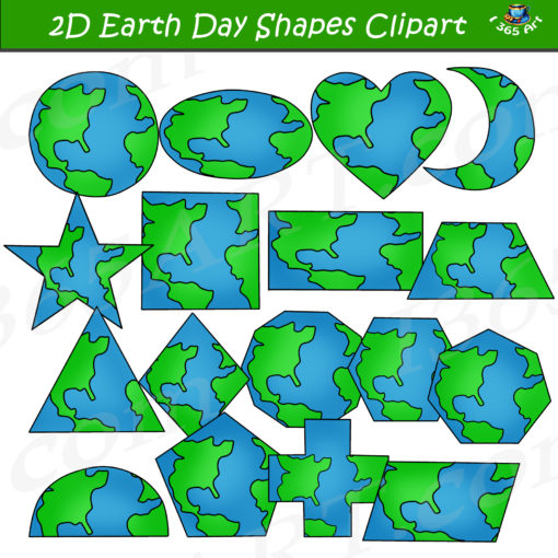 2D earth shapes clipart