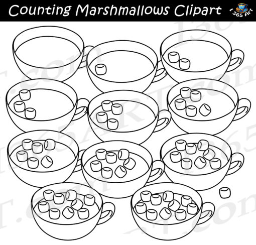 counting marshmallows clipart black and white