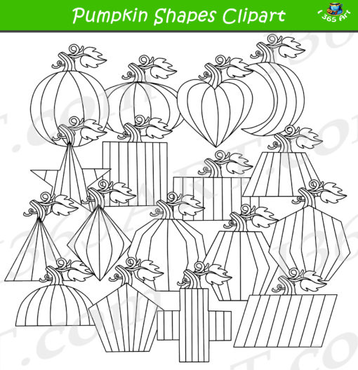 2d pumpkin shapes clipart black and white