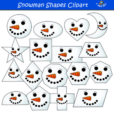 2D snowman shapes clipart