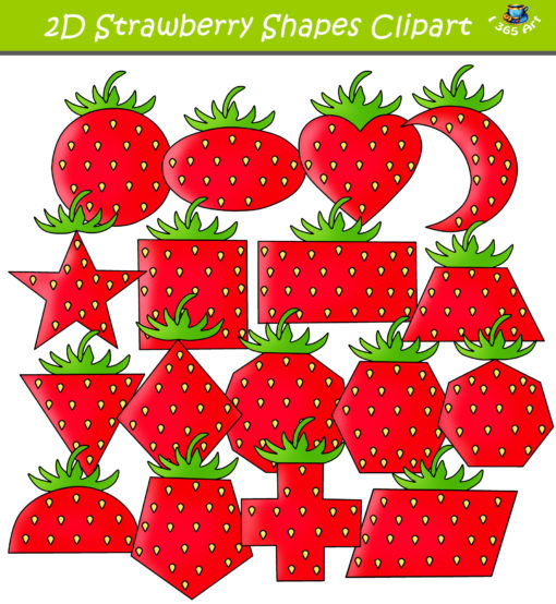 2D strawberry shapes clipart