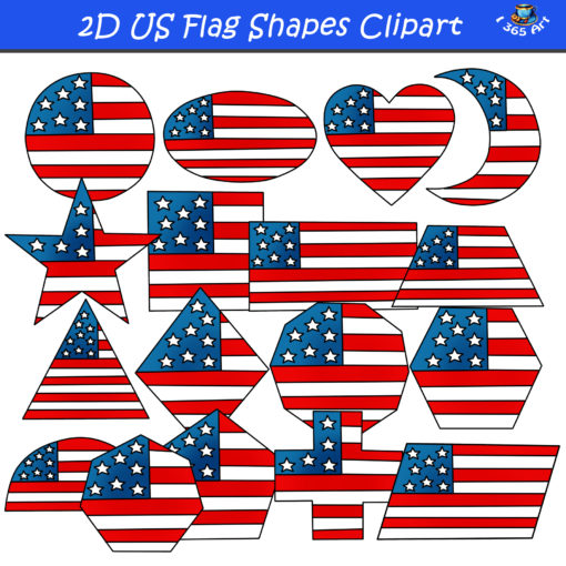 2D american flag shapes clipart