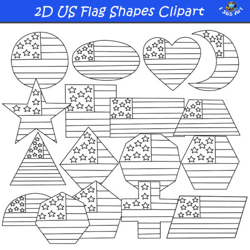 2D american flag shapes clipart black and white