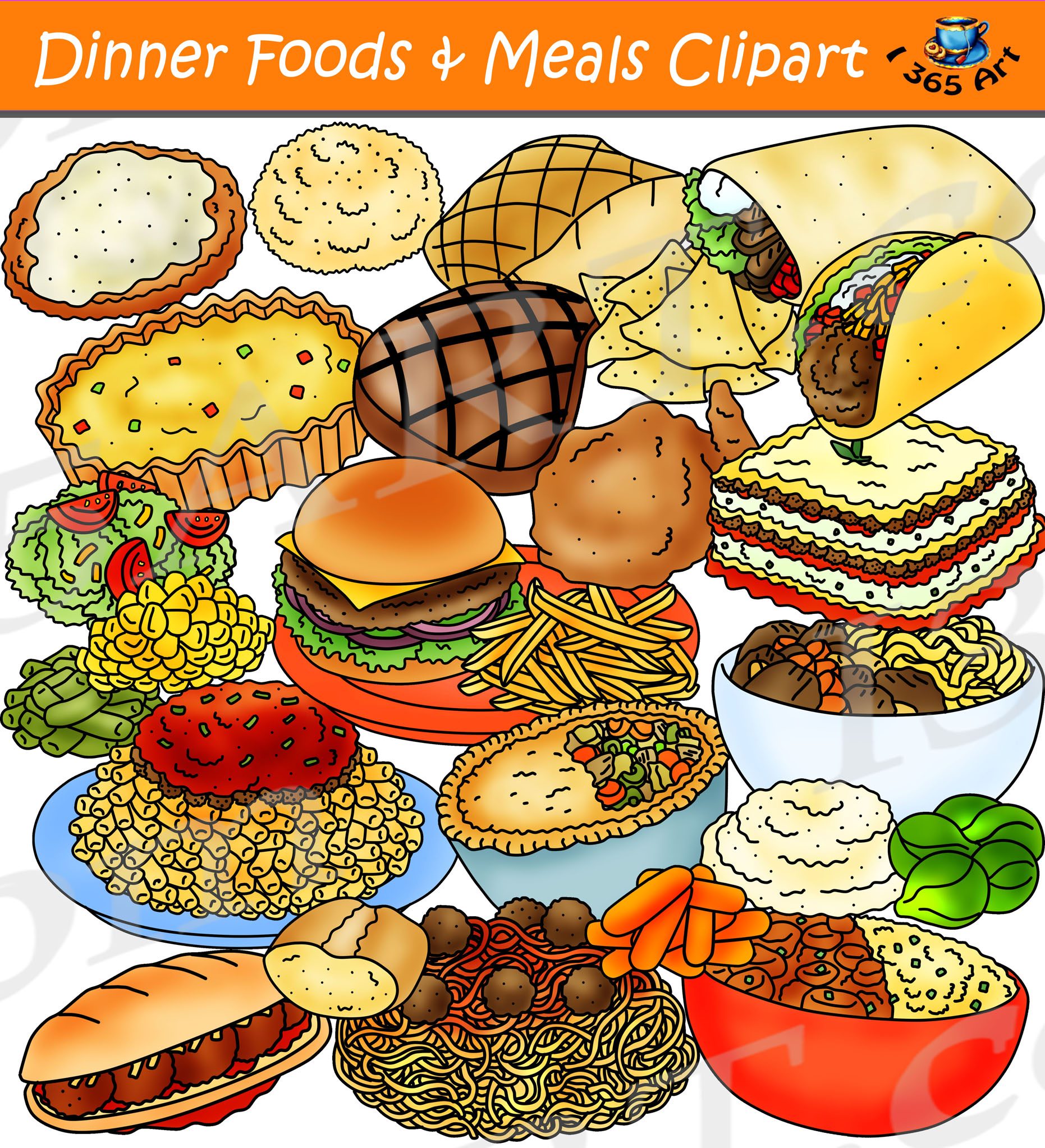 Dinner Foods Clipart - Dinner & Meals Clipart Download ...