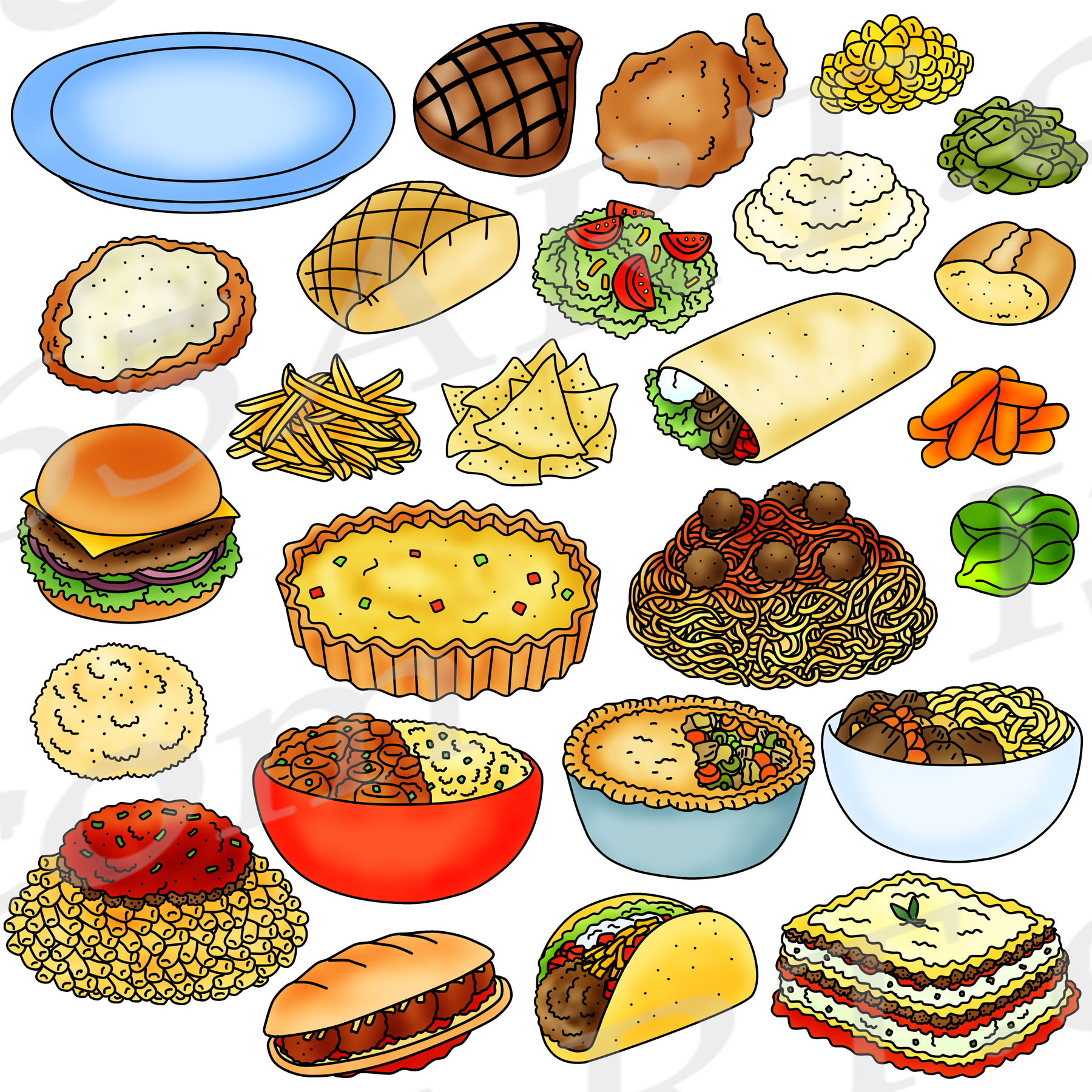 dinner clipart foods meals graphic graphics arts preview