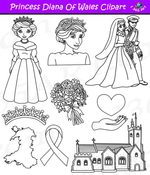 Princess Diana clipart black and white