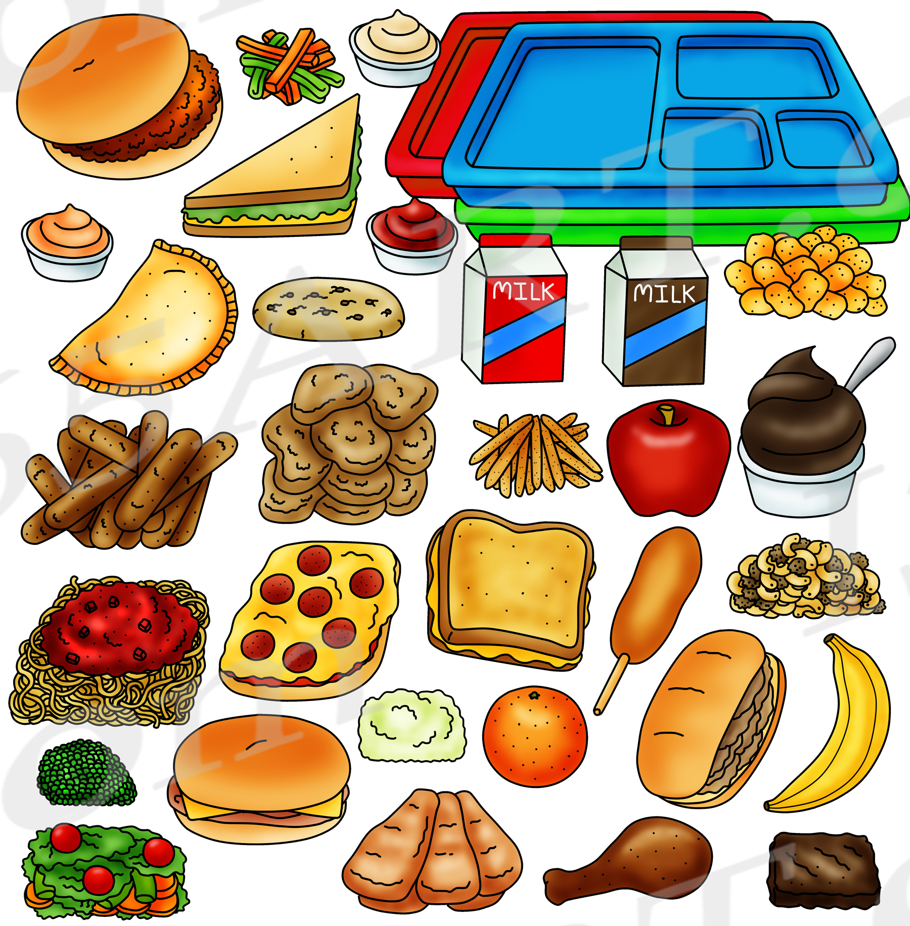 Cafeteria Food Clipart Graphics Set - Build A Lunch Tray ...