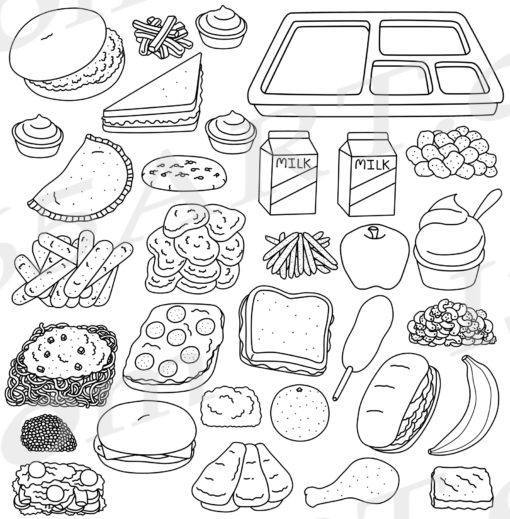 Cafeteria food clipart black and white