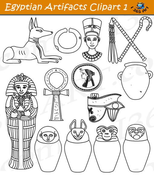 Egyptian artifacts clipart black and white
