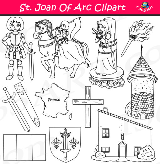 Joan of arc clipart black and white