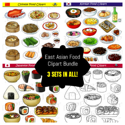 East asian food clipart bundle