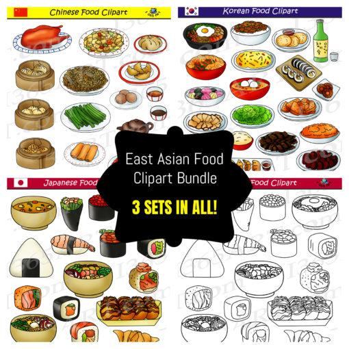 East asian food clipart bundle