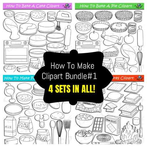 How to make foods clipart bundle black and white