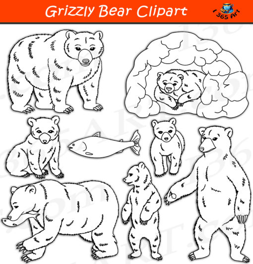 Grizzly Bear clipart black and white