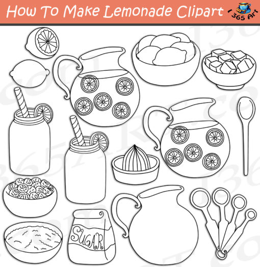How to make lemonade clipart black and white