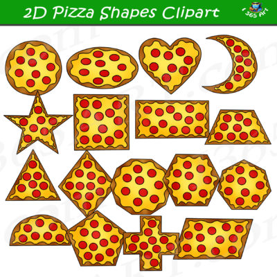 2D pizza shapes clipart