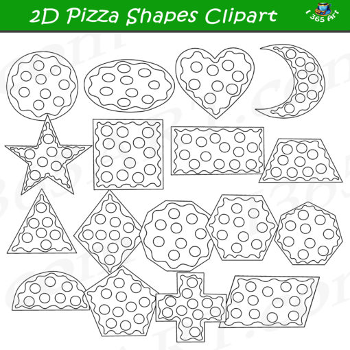 2D pizza shapes clipart black and white