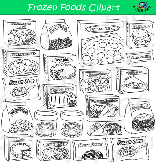 Frozen foods clipart black and white