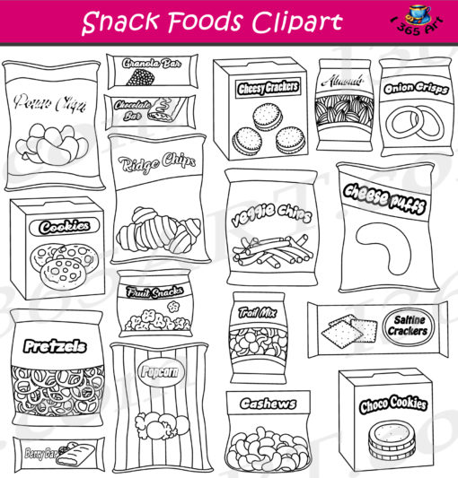 Snack foods clipart black and white