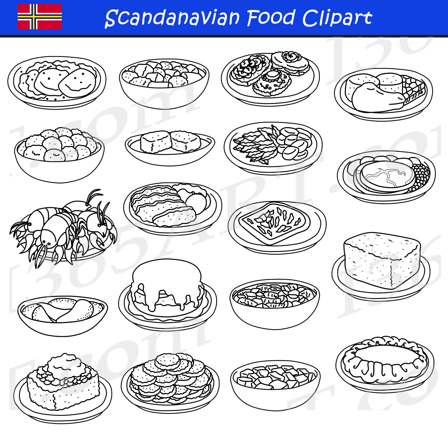 Scandinavian Food Clipart Set Download