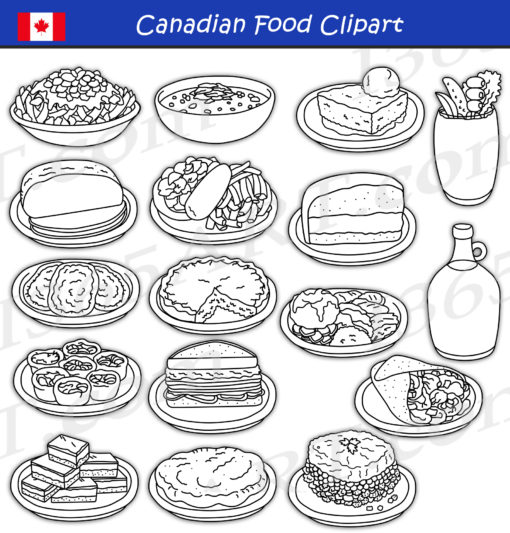Canadian Food Clipart black and white