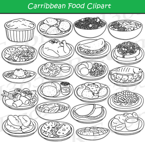 Central American & Caribbean Food Clipart black and white