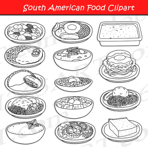 South American Food Clipart black and white