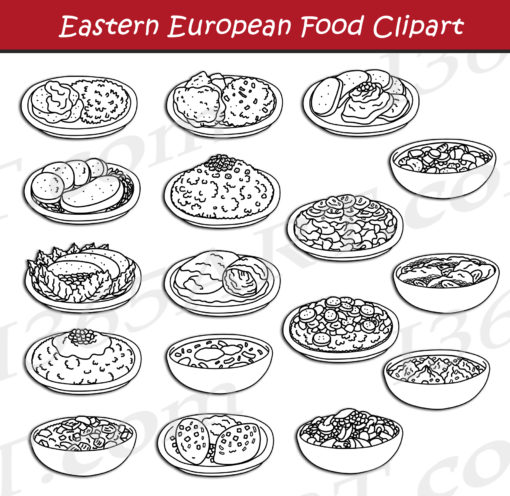 Eastern European Food Clipart black and white