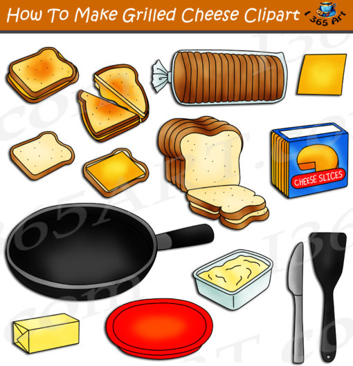 How to make an grilled cheese sandwich clipart