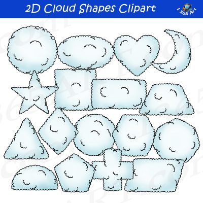 2D cloud shapes clipart