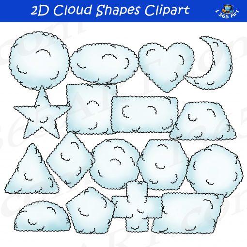 2D cloud shapes clipart